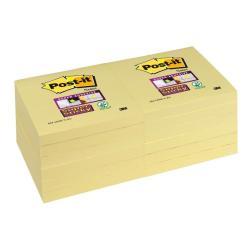 Post-it Post-it Super Sticky 654-6SSCY - Notes - 76 x 76 mm - 1080 feuilles (12 x 90) - jaune électrique