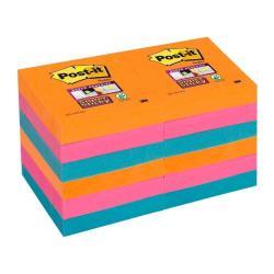 Post-it Post-it Super Sticky 622 - Notes - 51 x 51 mm - 1080 feuilles (12 x 90) - vert émeraude, bleu saphir, rouge rubis