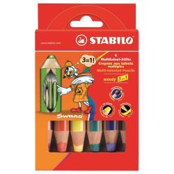 Stabilo woody 3 in 1 - Crayon de couleur - pour verre, cuir, métal - jaune, marron, bleu d'outremer, lilas, STABILO rouge, vert foncé - 10 mm - pack d