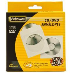 Porte-documents Fellowes - Pochette CD - capacité : 1 CD - blanc (pack de 50)