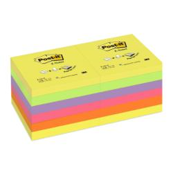 Post-it Post-it Z-Notes R330-NR12 - Notes - 76 x 76 mm - 1200 feuilles (12 x 100) - violet, vert fluo, jaune fluo, rose, orange fluo