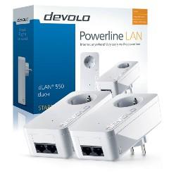 Adaptateur CPL devolo dLAN 550 duo+ - Starter Kit - pont - HomePlug AV (HPAV) - Branchement mural