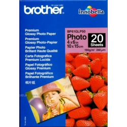 Papier Brother BP 61GLP Premium Glossy Photo Paper - Brillant - 9 mils - 102 x 152 mm - 190 g/m² - 20 feuille(s) papier photo - pour Brother DCP-J140, MFC-265, J270, J280, J410, J425, J430, J435, J5910, J625, J630, J835