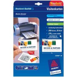 Cartes de visite Avery Quick&Clean - Cartes de visite - blanc - 54 x 85 mm - 270 g/m² - 250 carte(s) (25 feuille(s) x 10)