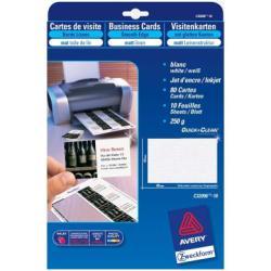Cartes de visite Avery - Cartes de visite - noir glacé - 54 x 85 mm - 200 g/m² - 80 unités ( 10 feuille(s) x 8 )