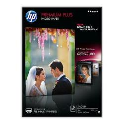 Papier HP Premium Plus Photo Paper - Brillant - A4 (210 x 297 mm) - 300 g/m² - 50 feuille(s) papier photo - pour Envy 100 D410, 11X D411; PageWide MFP 377; PageWide Pro 452; Photosmart 5525, 6525