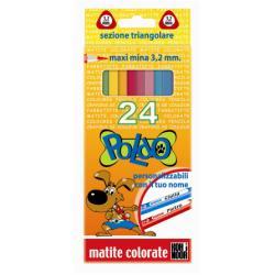 Crayon KOH-I-NOOR Poldo - Crayon de couleur - couleurs assorties - 3.2 mm - pack de 24