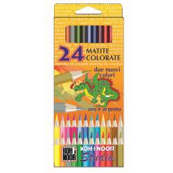Crayon KOH-I-NOOR STUDIO GOLD NAME - Crayon de couleur - couleurs assorties - 3.3 mm - pack de 24