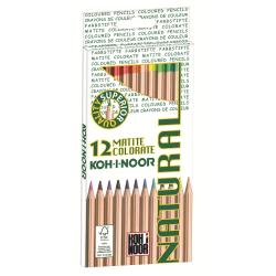 Crayon KOH-I-NOOR NATURAL - Crayon de couleur - couleurs assorties - 3.2 mm - pack de 12