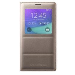 Housse Samsung S View Cover EF-CN910B - Protection à rabat pour téléphone portable - or - pour Galaxy Note 4
