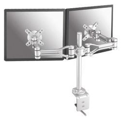 """Support pour LCD NewStar Full Motion Dual Desk Mount (clamp) FPMA-D1030D - Kit de montage (fixation par pince pour bureau, 2 bras articulés) pour Écran LCD - argenté(e) - Taille d'écran : 10""""-24"""""""