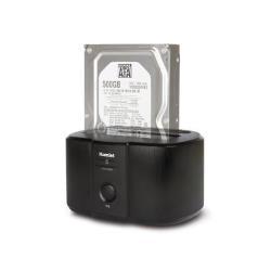 Boîtier pour disque dur externe Hamlet HXDD2535 - Contrôleur de stockage avec indicateur d'alimentation, sauvegarde par simple pression d'un bouton, commutateur de mise sous tension / hors tension - 2,5 po./3,5 po. partagé - SATA 6Gb/s - 600 Mo/s - USB 3.0