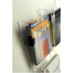 Porte-brochures TECNOSTYL Ice - Plateau de porte-document - montable au mur - 2 pochettes - pour 1/3 A4 - clair (pack de 2)