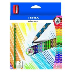 Crayon LYRA Groove Slim - Crayon de couleur - couleurs assorties - 3.3 mm - pack de 24