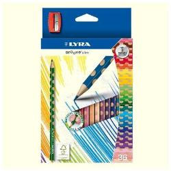Crayon LYRA Groove Slim - Crayon de couleur - couleurs assorties - 3.3 mm - pack de 36