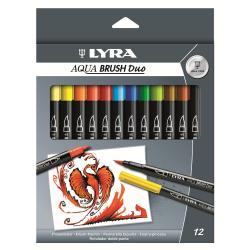 Stylo Lyra Aqua Brush Duo - Stylo à pointe en fibre double pointe - couleurs assorties - encre à l'eau - pack de 12
