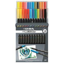 Stylo Lyra Aqua Brush Duo - Ensemble de feutres et stylos fins - encre à l'eau - pack de 24