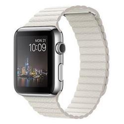 Smartwatch Apple Watch Original - 42 mm - acier inoxydable - montre intelligente avec boucle de cuir - blanc - grande taille - Wi-Fi, Bluetooth - 50 g
