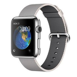 Smartwatch Apple Watch Original - 42 mm - acier inoxydable - montre intelligente avec bande - nylon tissé - perle - 145 - 215 mm - Wi-Fi, Bluetooth - 50 g