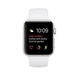 Smartwatch Apple Watch Series 2 - 42 mm - aluminium argenté - montre intelligente avec bande sport - fluoroélastomère - blanc - taille S/M/L - Wi-Fi, Bluetooth - 34.2 g