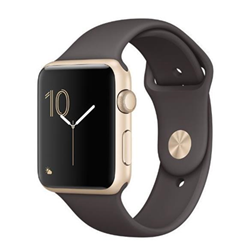 Smartwatch Apple Watch Series 2 - 42 mm - aluminium argenté - montre intelligente avec bande sport - fluoroélastomère - cacao - taille S/M/L - Wi-Fi, Bluetooth - 34.2 g