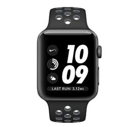 Smartwatch Apple Watch Nike+ Series 2 - 42 mm - espace gris en aluminium - montre intelligente avec bracelet sport Nike - fluoroélastomère - noir / gris froid - taille S/M/L - Wi-Fi, Bluetooth - 34.2 g