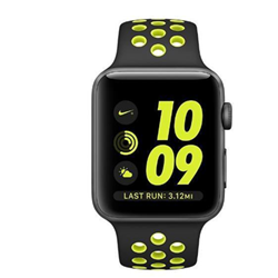 Smartwatch Apple Watch Nike+ Series 2 - 42 mm - espace gris en aluminium - montre intelligente avec bracelet sport Nike - fluoroélastomère - noir/volt - taille S/M/L - Wi-Fi, Bluetooth - 34.2 g