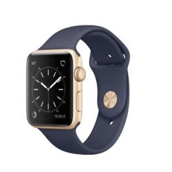 Smartwatch Apple Watch Series 2 - 38 mm - or-aluminium - montre intelligente avec bande sport - fluoroélastomère - bleu nuit - taille S/M/L - Wi-Fi, Bluetooth - 28.2 g
