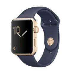 Smartwatch Apple Watch Series 2 - 42 mm - or-aluminium - montre intelligente avec bande sport - fluoroélastomère - bleu nuit - taille S/M/L - Wi-Fi, Bluetooth - 34.2 g