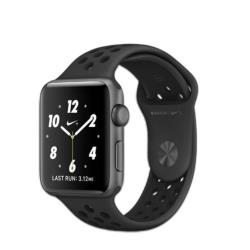 Smartwatch Apple Watch Nike+ Series 2 - 38 mm - espace gris en aluminium - montre intelligente avec bracelet sport Nike - fluoroélastomère - anthracite/noir - taille S/M/L - Wi-Fi, Bluetooth - 28.2 g
