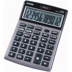 Calculatrice AURORA DT661 - Calculatrice de bureau - 12 chiffres - panneau solaire, pile