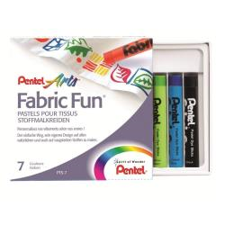 Crayon Pentel Arts Fabric Fun - Crayon - pour tissu - couleurs assorties - 8 mm - pack de 7