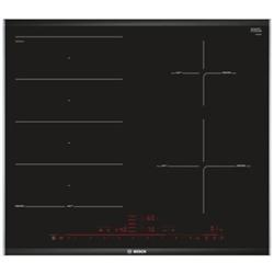Plan de cuisson Bosch Serie 8 PXE675DC1E - Table de cuisson à induction - 4 plaques de cuisson - Niche - largeur : 56 cm - profondeur : 49 cm - noir - avec garnitures latérale en acier inoxydable, - avec garnitures biseautées avant et arrière