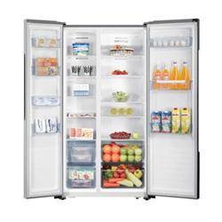 Réfrigérateur Hisense RS670N4AC1 - Réfrigérateur/congélateur - pose libre - largeur : 91 cm - profondeur : 64.3 cm - hauteur : 178 cm - 516 litres - côte à côte - classe A+ - apparence inox premium