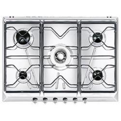 Plan de cuisson Smeg SRV576-5 - Table de cuisson au gaz - 5 plaques de cuisson - Niche - largeur : 55.5 cm - profondeur : 47.8 cm - granite blanc