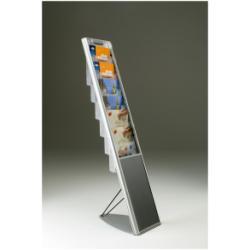 Porte-brochures TECNOSTYL Vision - Porte-document - sur pied - 6 pochettes - pour A4 - transparent