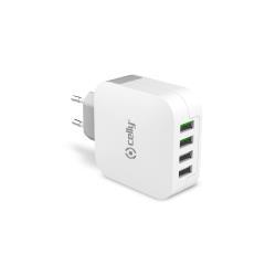 Chargeur CELLY TC4USBTURBO - Adaptateur secteur - 4 connecteurs de sortie ( USB (alimentation uniquement) )