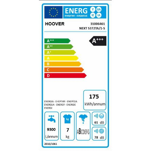 Hoover - =>>HOOVER LAVATRICE NEXT S372/1-S