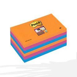 Post-it Post-it Super Sticky Bangkok 655-6SS-EG - Notes - 76 x 127 mm - fuchsia, bleu méditerranée, orange fluorescent (pack de 6)