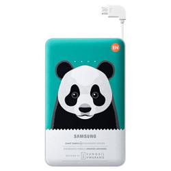 Chargeur Samsung EB-PN915B Special Edition - Banque d'alimentation 11300 mAh - 2000 mA - 2 connecteurs de sortie (USB (alimentation uniquement), Micro-USB de type B (alimentation uniquement)) - sur le câble : Micro-USB - vert (panda géant) - pour Galaxy Core Prime VE