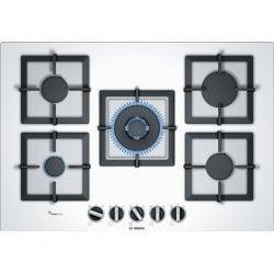 Plan de cuisson Bosch Serie 6 PPQ7A2B20 - Table de cuisson au gaz - 5 plaques de cuisson - Niche - largeur : 56 cm - profondeur : 48 cm - blanc blanc - blanc