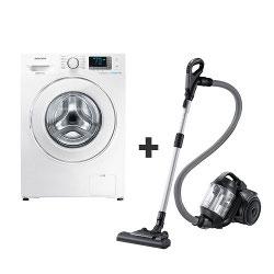 Lave-linge Samsung Ecolavaggio Crystal WF80F5E5U2W - Machine à laver - pose libre - largeur : 60 cm - profondeur : 55 cm - hauteur : 85 cm - chargement frontal - 8 kg - 1200 tours/min - blanc