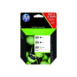 Cartuccia HP - 301 tri-pack - confezione da 3 - nero, colore (ciano, magenta, giallo) e5y87ee