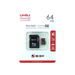 Micro SD S3 PLUS - S3+ - scheda di memoria flash - 64 gb - uhs-i microsdxc s3sdc10u1/64gb