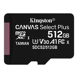 Micro SD Kingston - Canvas select plus - scheda di memoria flash - 512 gb - uhs-i sdxc sdcs2/512gbsp