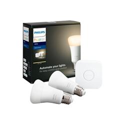 Lampadina LED Philips - Hue White Kit, 2 Lampadine E27 Smart, luce calda e Bridge Hue