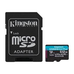 Micro SD Kingston - Canvas go! plus - scheda di memoria flash - 512 gb - uhs-i microsdxc sdcg3/512gb