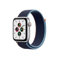 Smartwatch Apple - Watch SE GPS+Cellular 44mm alluminio argento con cinturino Sport blu marina