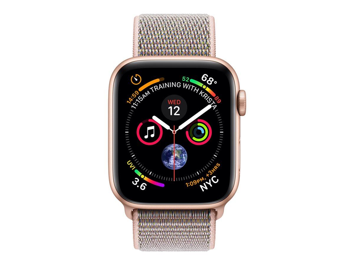 AppleWatch Series4 (GPS + Cellular) cassa 40mm in alluminio colore Oro ecinturino Sport rosa sabbia