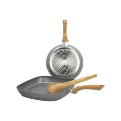 Set padelle TOGNANA - Porcellane Padella 24cm, Grill 28x28cm, Pinza Chef Bamboo Stone&Wood